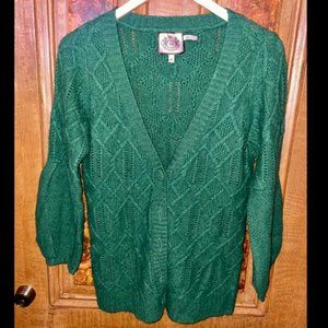 Green Cable Knit Wool-Cashmere Blend Cardigan